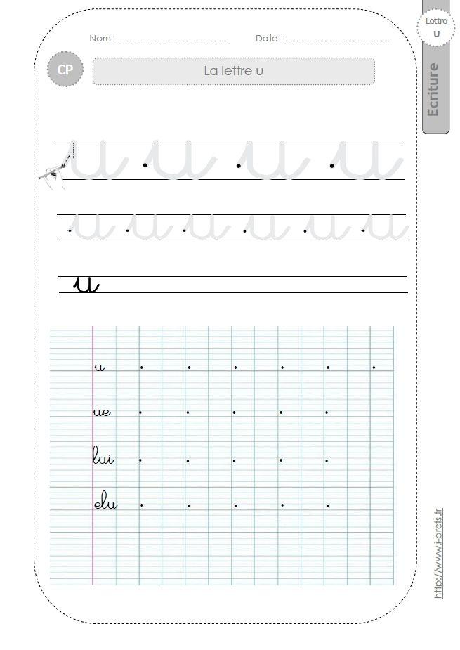 Bien connu la lettre U au CP:FICHES d'ECRITURE. Modèles d'écriture  QX48