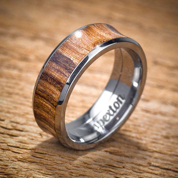 Titanium Wood Wedding Band Applewood Men's Ring by spexton on Etsy, @shane sheets