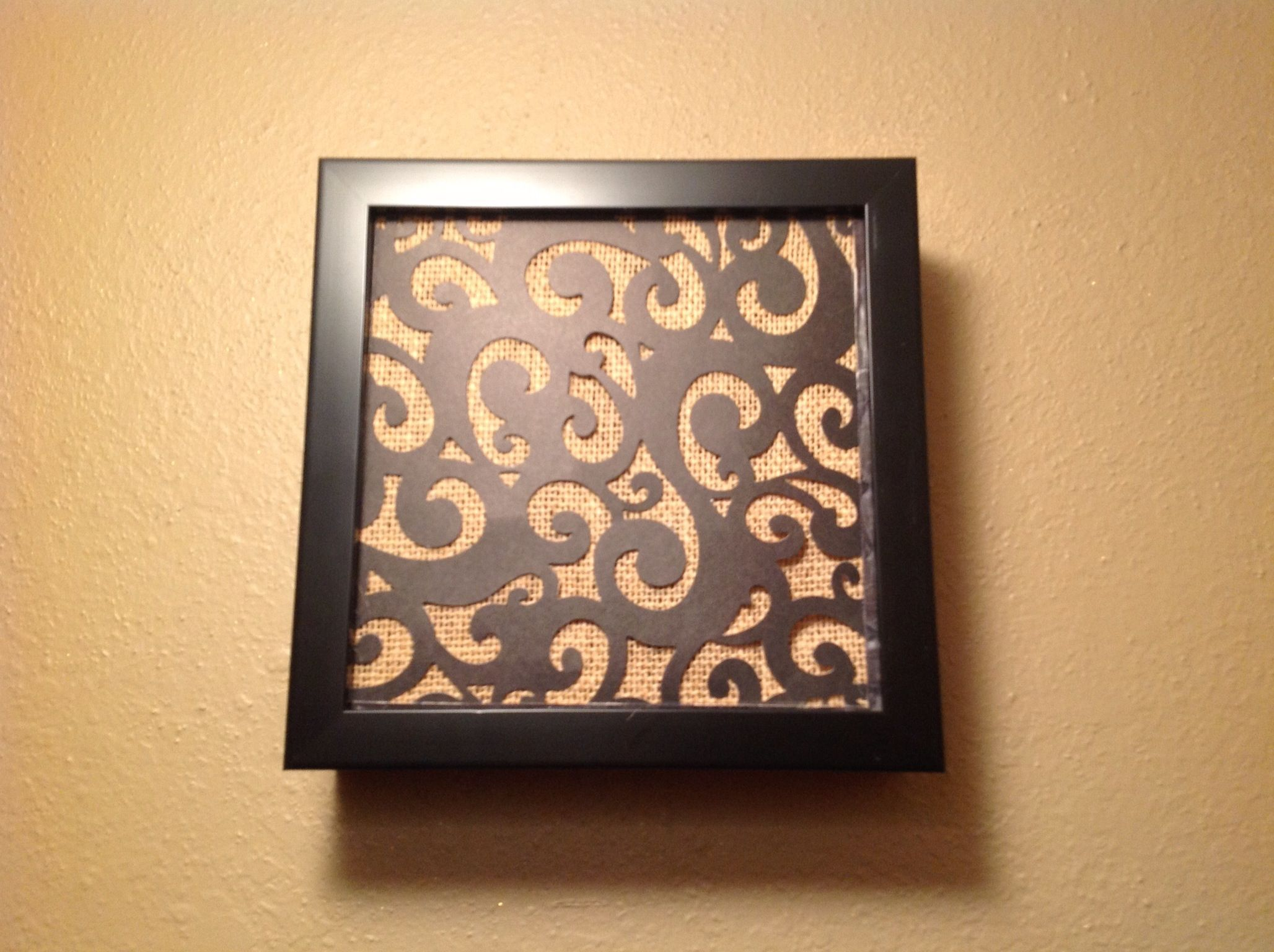 Attractive Door Bell Chime Cover Made From Shadow Box, Burlap And Black Scroll Cut  Scrap Booking