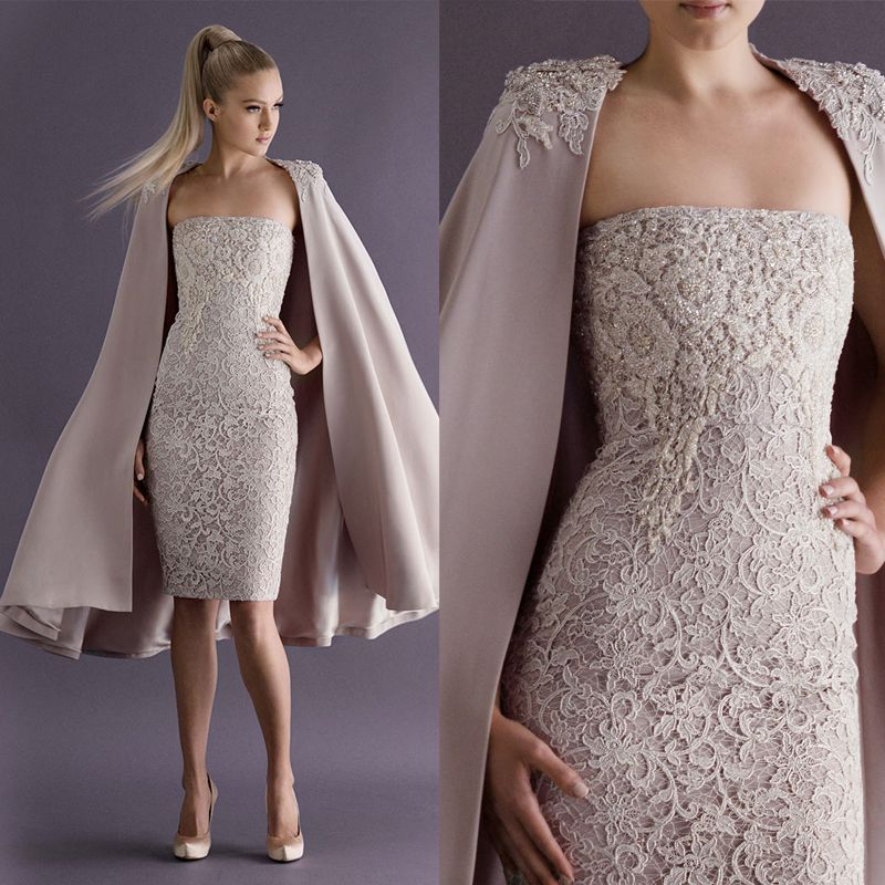 Elegant Strapless Lace Cocktail Dresses with Long Coat Special ...