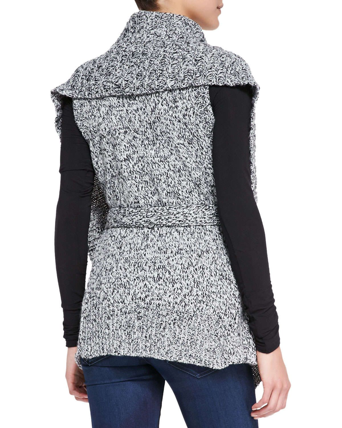 Wraparound Cable-Knit Sweater Vest, Dark Gray | Products ...
