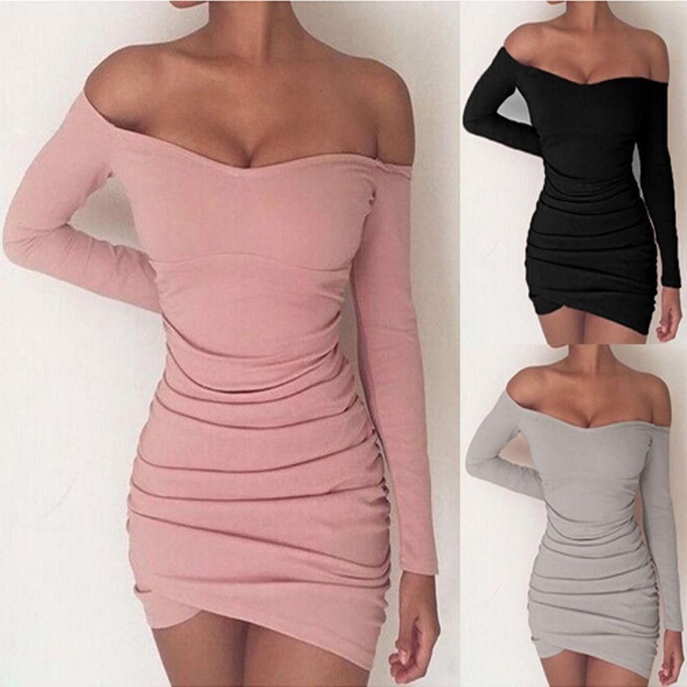 Fashion women off shoulder bodycon long sleeve evening party