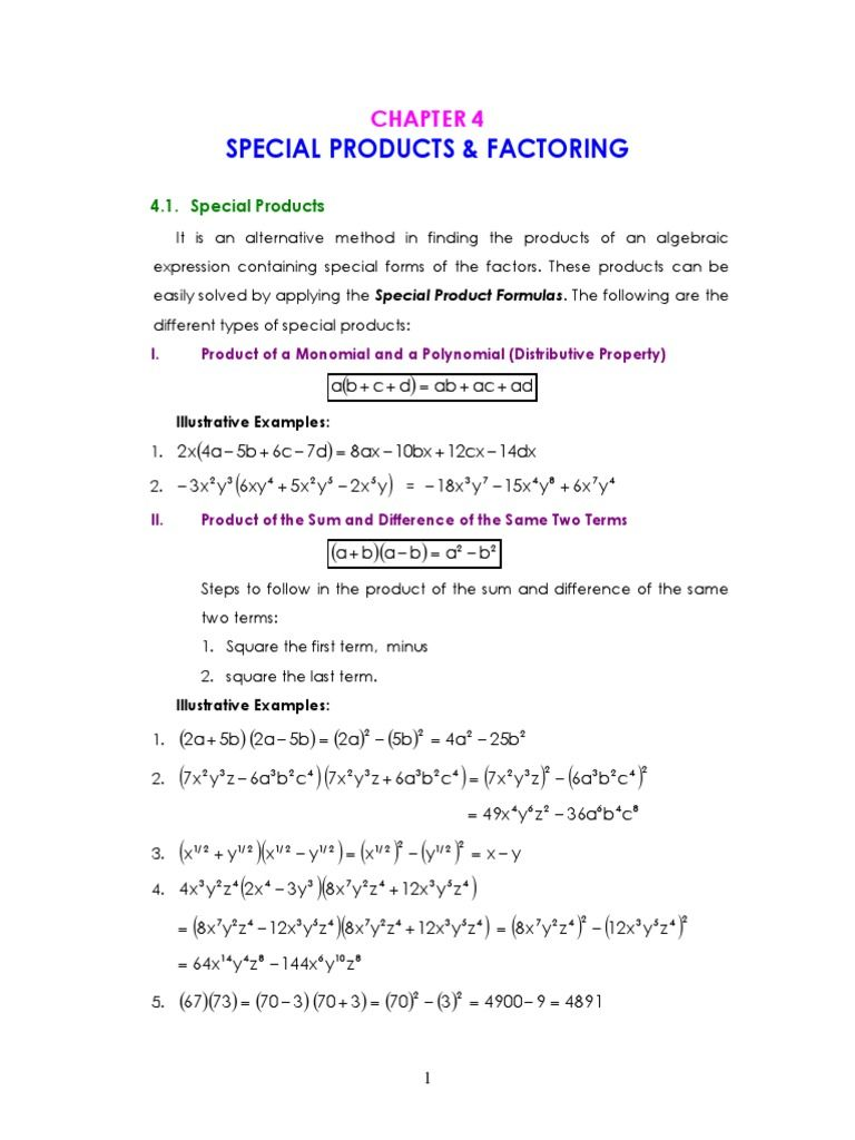 Chapter 4 Special Products Factoring Algebraic Expressions Math 8 How To Apply