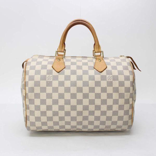Louis Vuitton Speedy 30 Damier Azur Handle Bags White Canvas N41533 Louis Vuitton Speedy 30 Bags Purse Accessories
