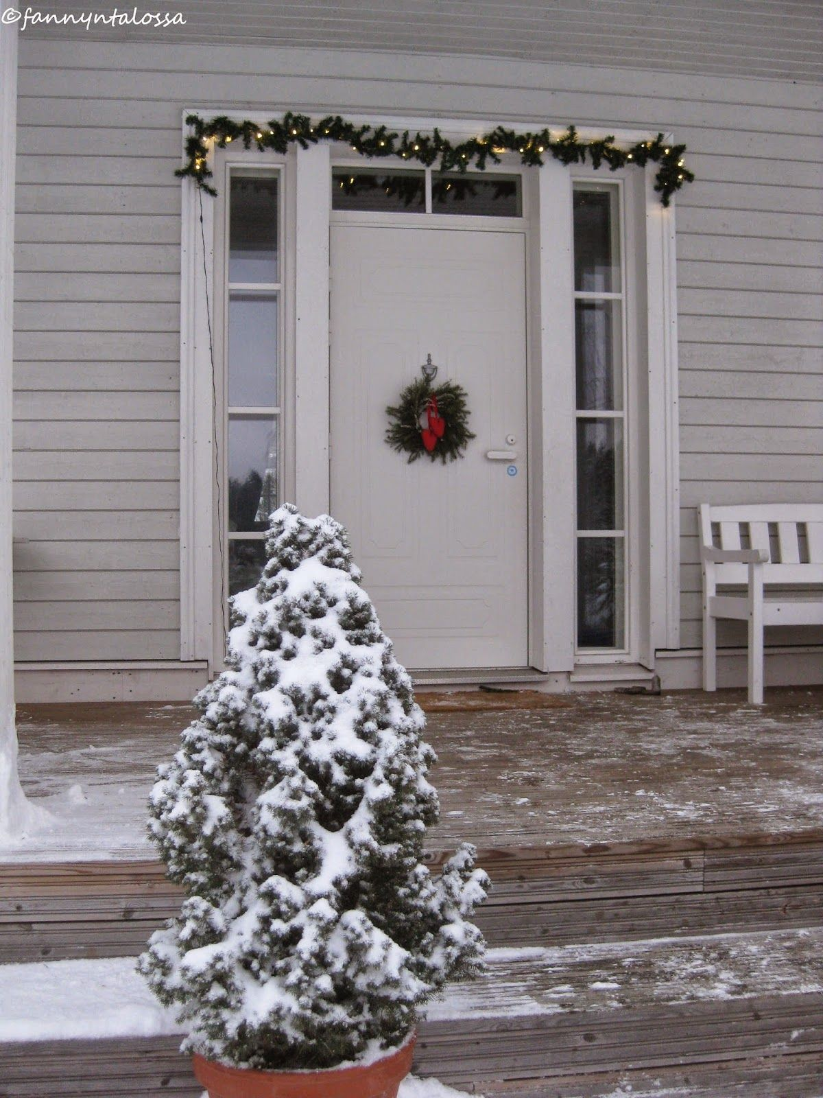 Front door at our country home during Christmas