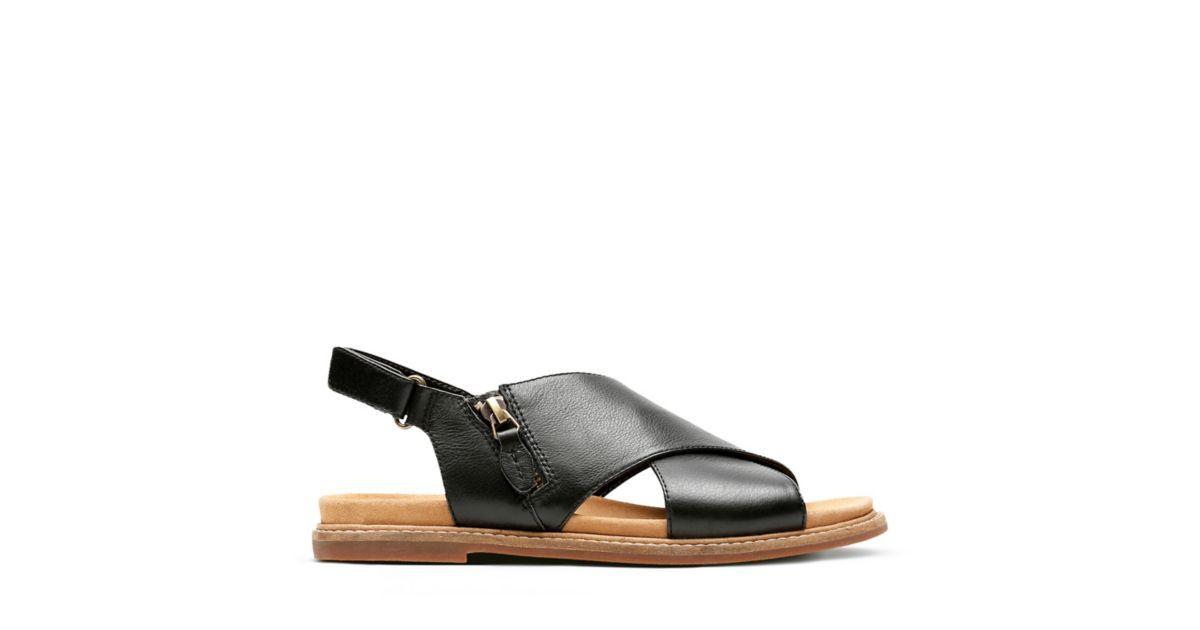 01524589e2d Corsio Calm Black Leather - Womens Flat Sandals - Clarks® Shoes Official  Site