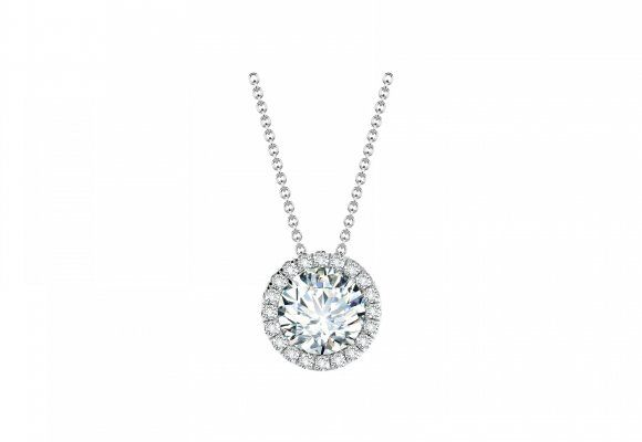 round halo dimaond pendant