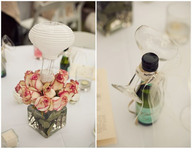 mini wine bottles and hot air balloons
