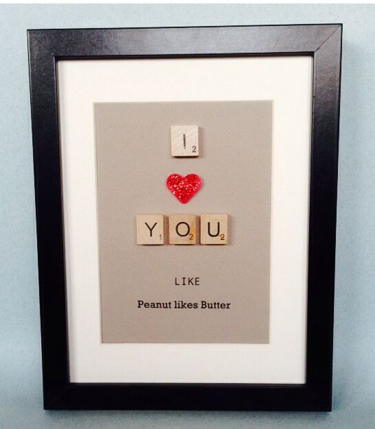 """£20.00 www.withtheselillywhites.com SCRABBLE TILE LOVE GIFT Choose your own tag. """"I love you like..."""" Take a look at my site for other gifts ☺️x #quirky #unique #scrabbletiles #redheart #tagline #loveyou #framedgift"""