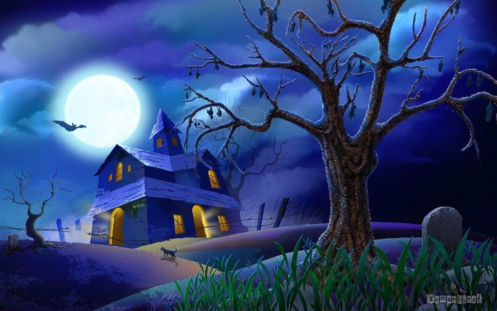 Halloween Haunted House Wallpaper 1 1024x640 Pixels