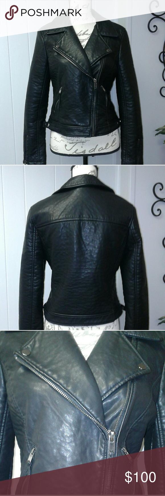 Moto Style Black Faux Leather Jacket Black faux