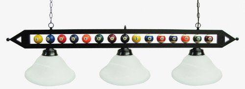 59 Black Metal Pool Table Light Billiard Lamp W White Glass Shades