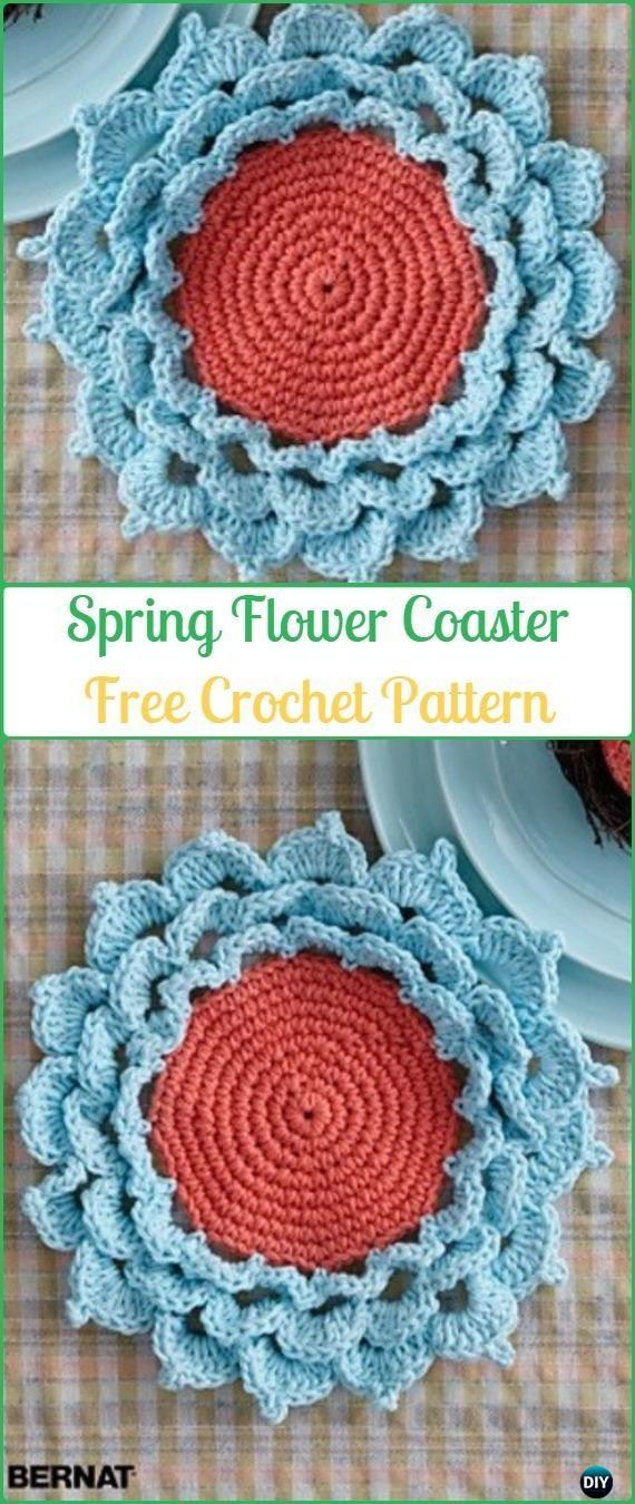 Crochet Spring Flower Coaster Free Pattern - #Crochet Coasters Free ...