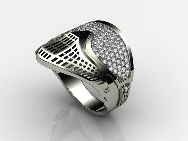 Flexes ring I think the diamonds look funny But its kinda cool