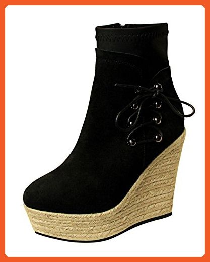 f6034d15eb16 T Mates Womens Casual Round Toe Suede Side Lace-up Zipper Wedge Heel  Platform Short Boots (5 B(M)US
