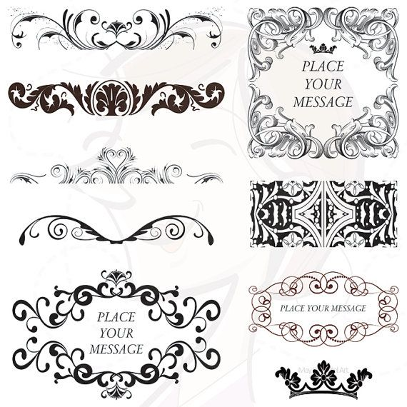 Popular digital frames classic baroque style variety pack of swirl popular digital frames classic baroque style variety pack of swirl and flourish vector clipart for diy invitation business branding 10145 stopboris Image collections