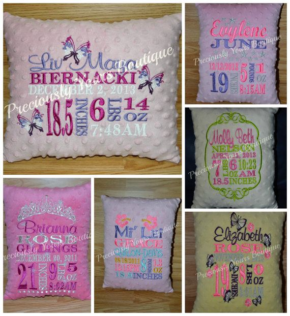 Custom Embroidered Birth Announcement Pillow By