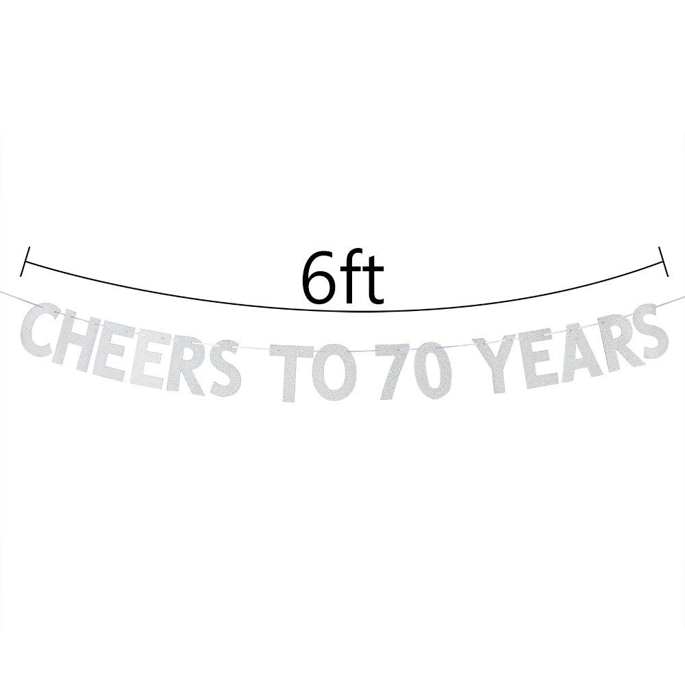 Cheers To 70 Years Banner Happy 70th Birthday Party Bunting Sign