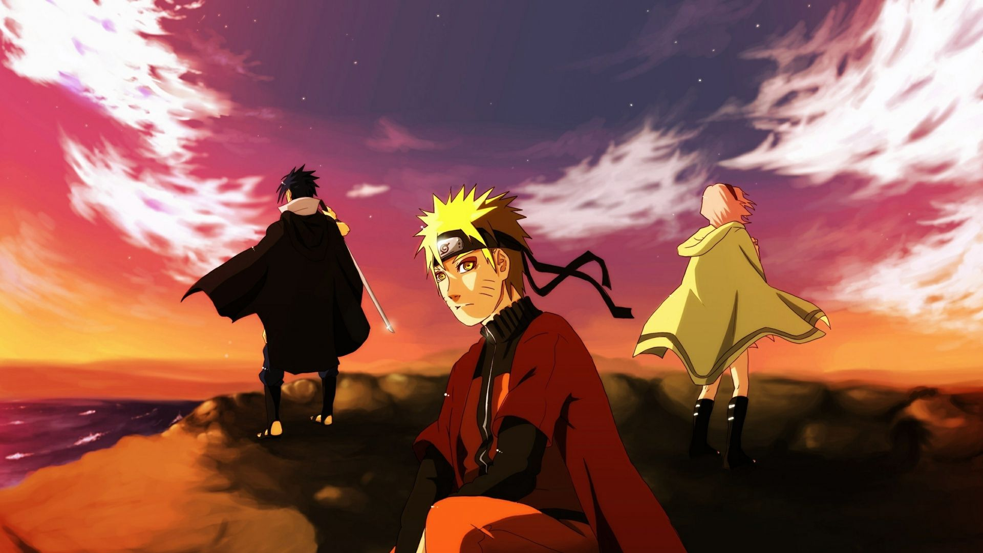 1920x1080 Wallpaper Naruto Team Of Seven Uchiha Sasuke Art Sea