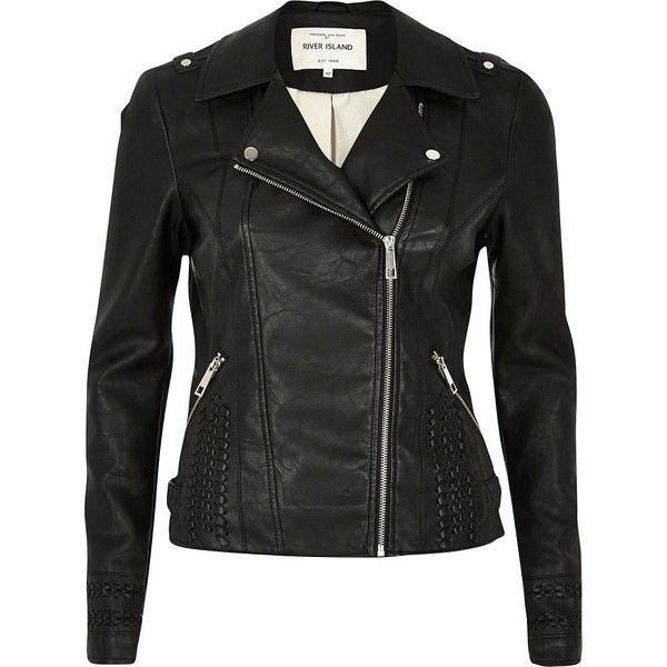 7884b6c84 River Island Black leather-look whipstitch biker jacket (£84 ...