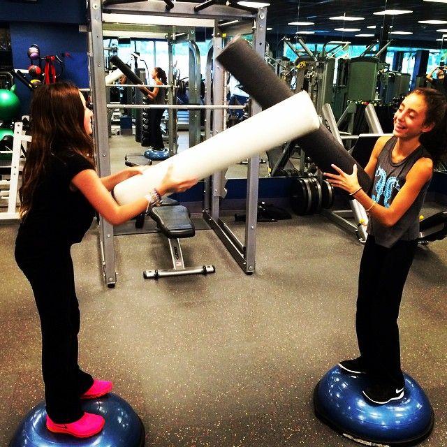 Bosu Ball Ab Chair: Great Partner Workout! #BOSU #kids #children #fitness #fun