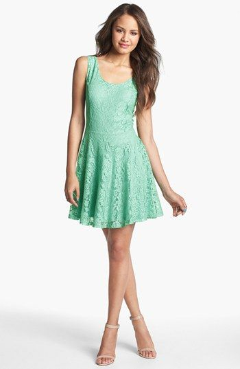 0459a3160d77 Maybe too little... but something like this would look cute w cowboy boots  // Robin K V-Back Lace Skater Dress (Juniors) available at #Nordstrom