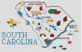 Sue Hillis South Carolina Map - Cross Stitch Pattern. Model to be stitched on your choice of fabric using DMC floss. Stitch count 129 x 80.