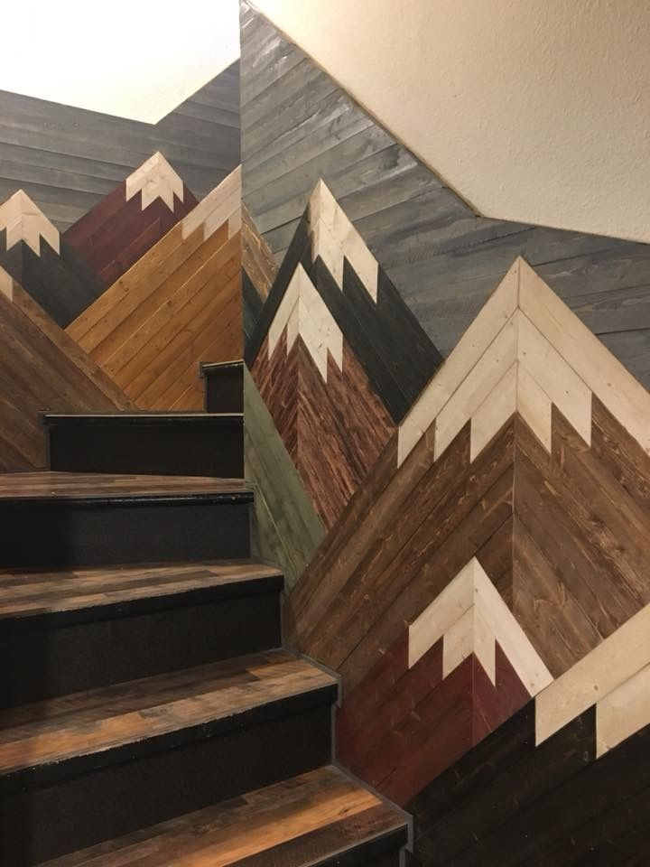 Mountain mosaic on stairs