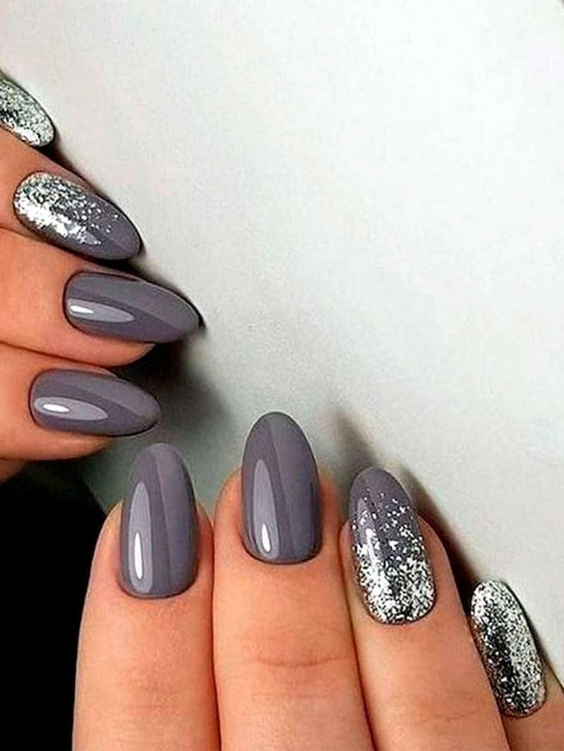Beautiful almond medium gray nails with silver glitter ideas! #silvernails