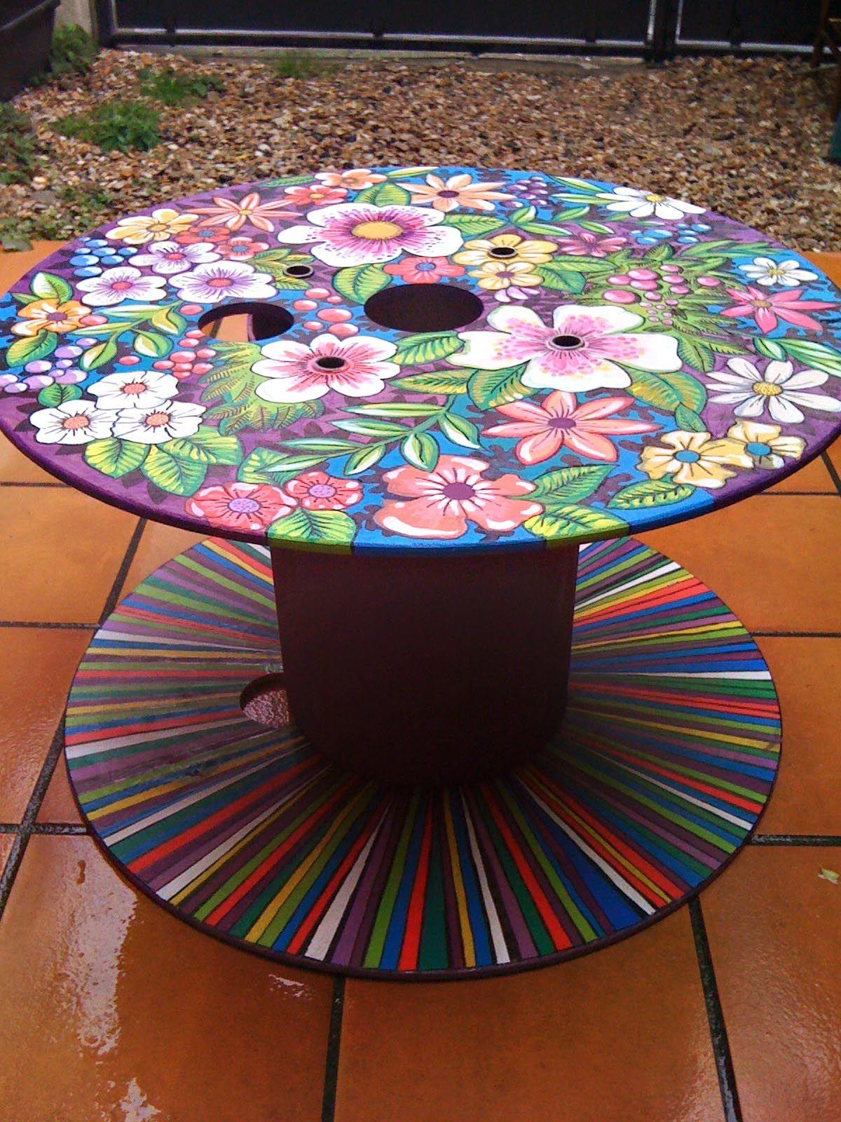 Artesanato Funky Painted Furniture Spool Furniture Painted Furniture