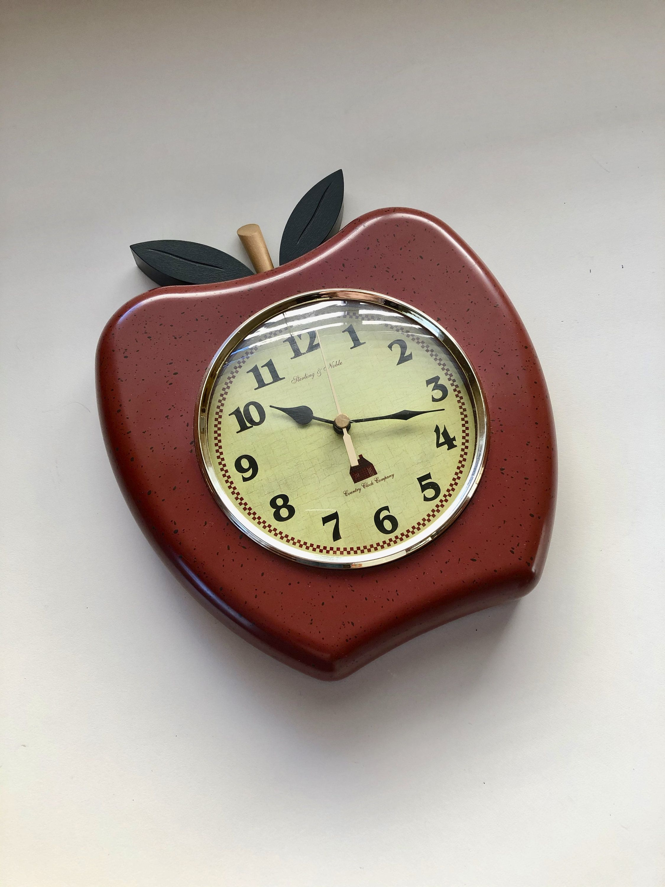 red apple wall clock battery operated sterling noble on wall clocks battery operated id=56872