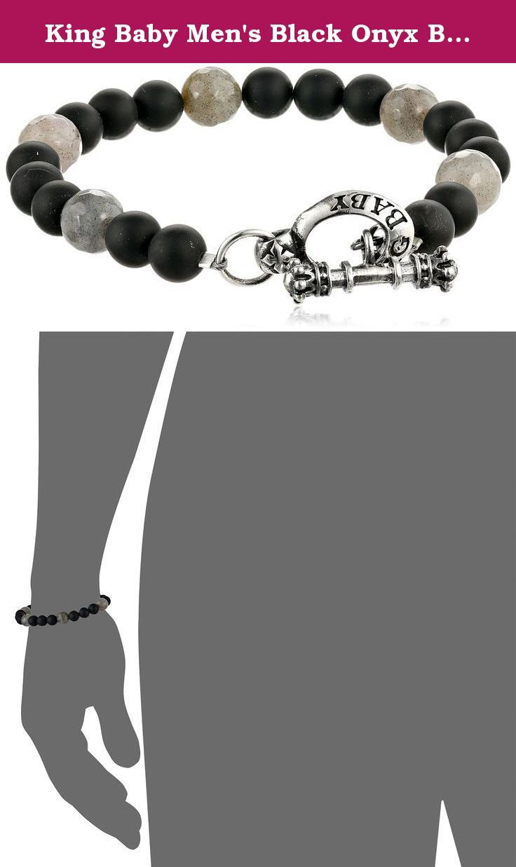 King baby menus black onyx bracelet with labradorite and silver