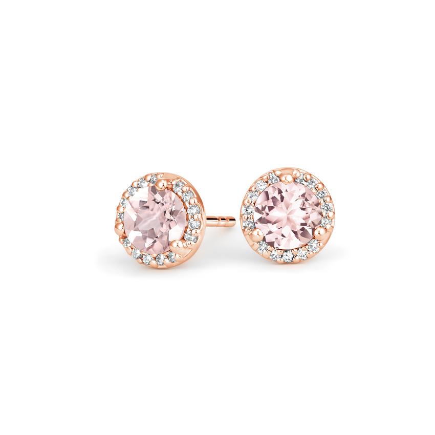 14k Rose Gold Morganite Halo Diamond Earrings Morganite Halo Morganite Earrings 14k Rose Gold Engagement Rings