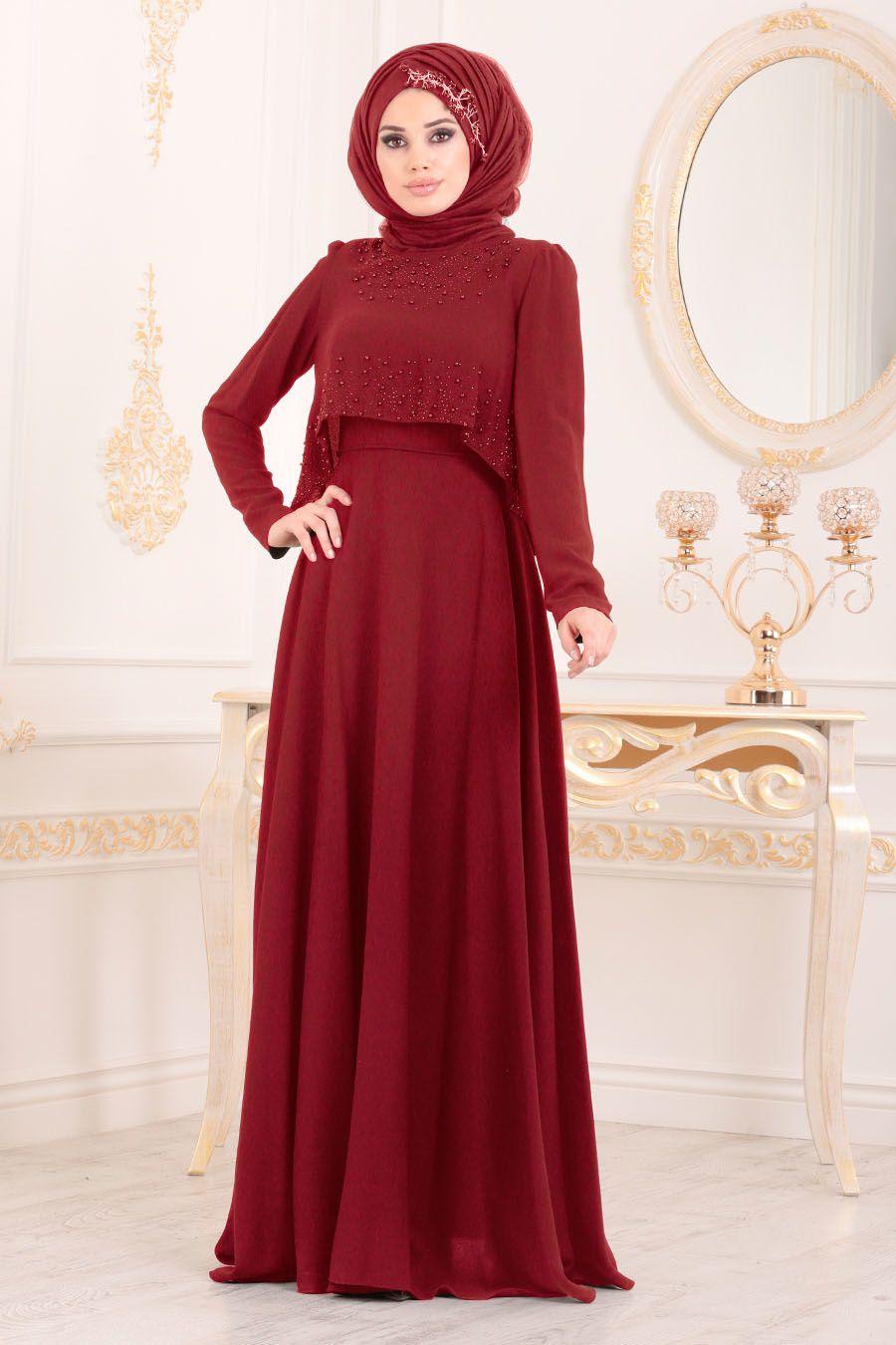 69e57c3fff4ae Tesettürlü Abiye Elbise - Boncuk Detaylı Kırmızı Tesettür Abiye Elbise  36840K
