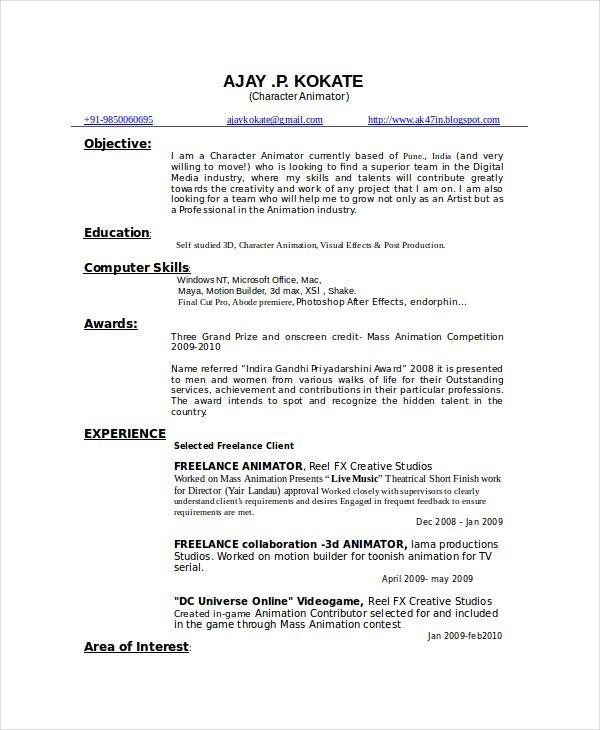 Resume Format 3D Animator - Resume format, Resume format download, Sample resume format, Resume templates, Resume format for freshers, Resume - 3D Artist   Free Resume Samples   Blue Sky