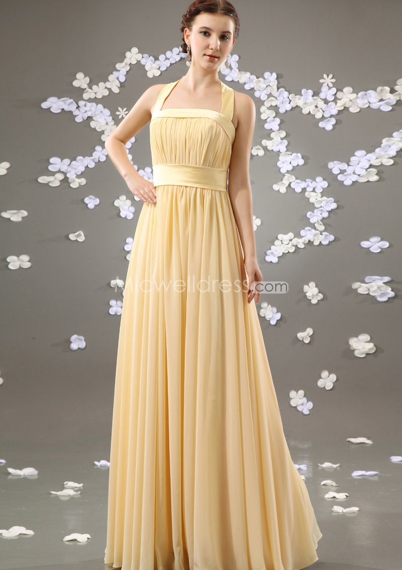 Cheap light yellow halter neckline ruched long chiffon bridesmaid cheap light yellow halter neckline ruched long chiffon bridesmaid dresses loading zoom ombrellifo Image collections