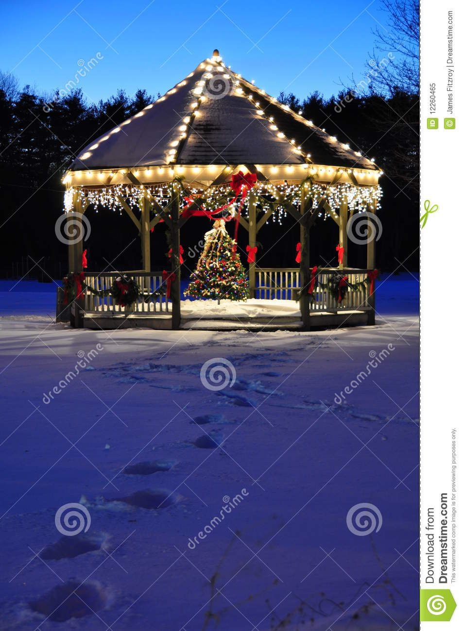 Old Town Gazebo New England Town Gazebo Decorated Form Christmas In The Eveni Outdoor Christmas Decorations Yard Christmas Village Houses Gazebo Decorations
