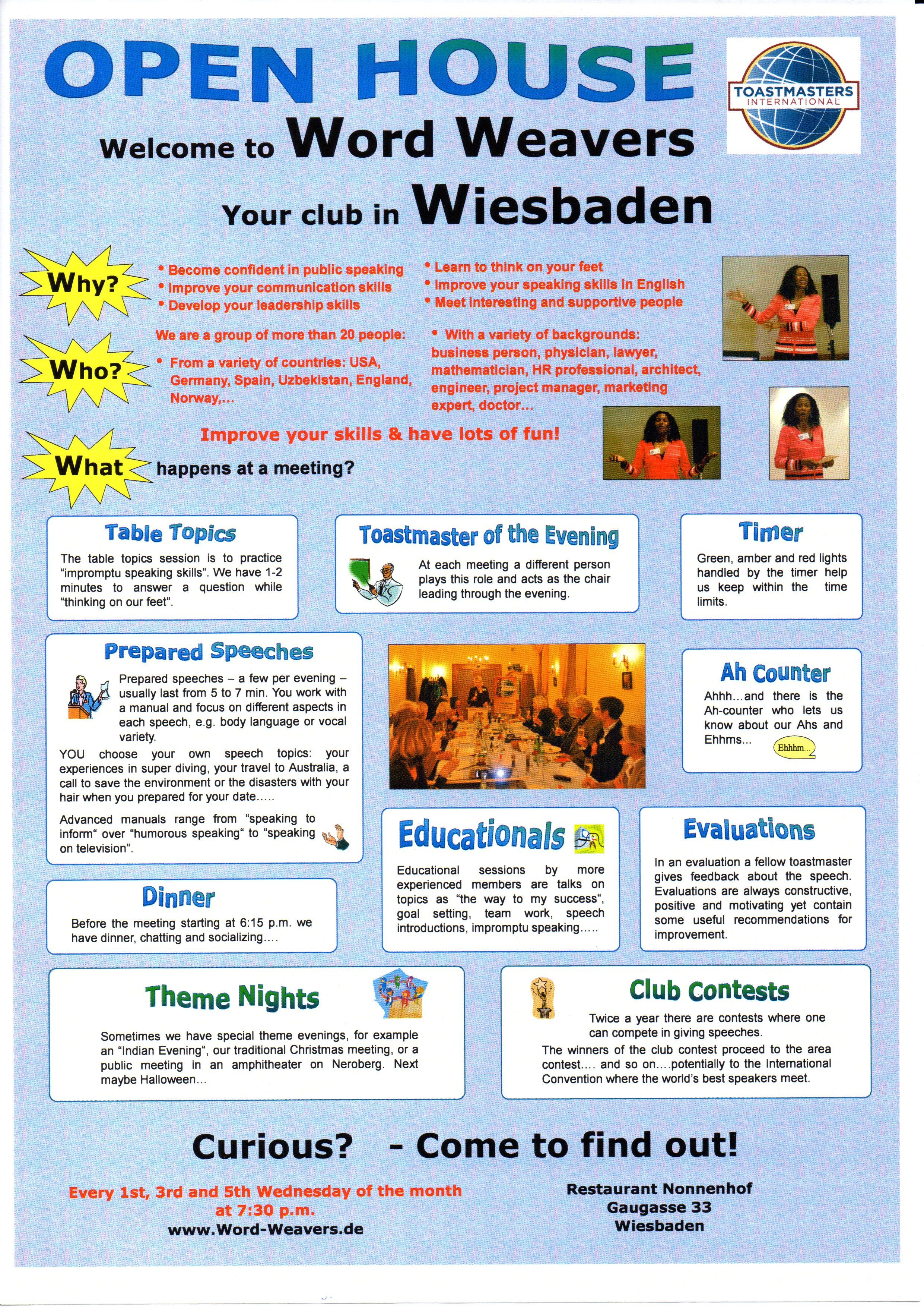 Here Is A Flyer That The Word Weavers Club Of Wiesbaden Germany Did For Our Open House There Is Some Good Bas Public Speaking Open House Public Speaking Tips