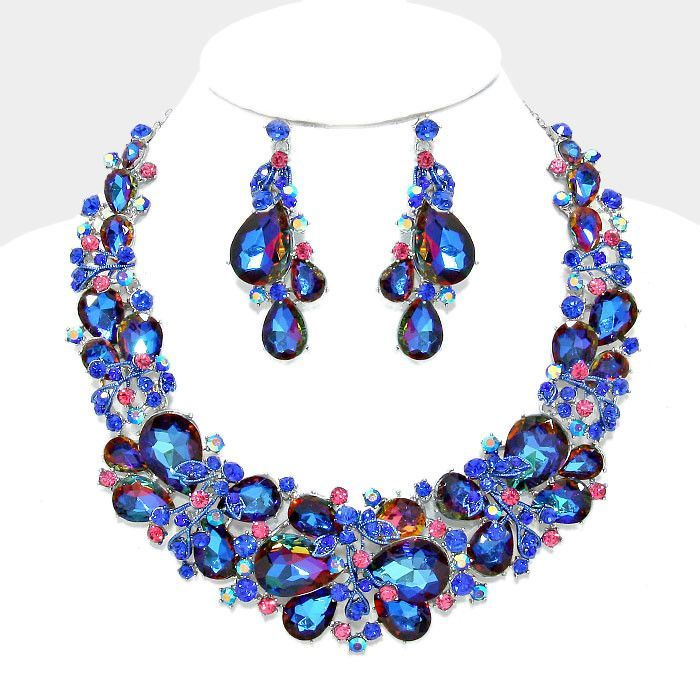 Vitrail Sapphire Blue Teardrop Vine Crystal Rhinestone Evening Statement Necklace Set