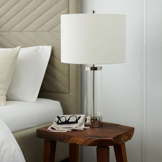 Acrylic Column Table Lamp   Polished Nickel