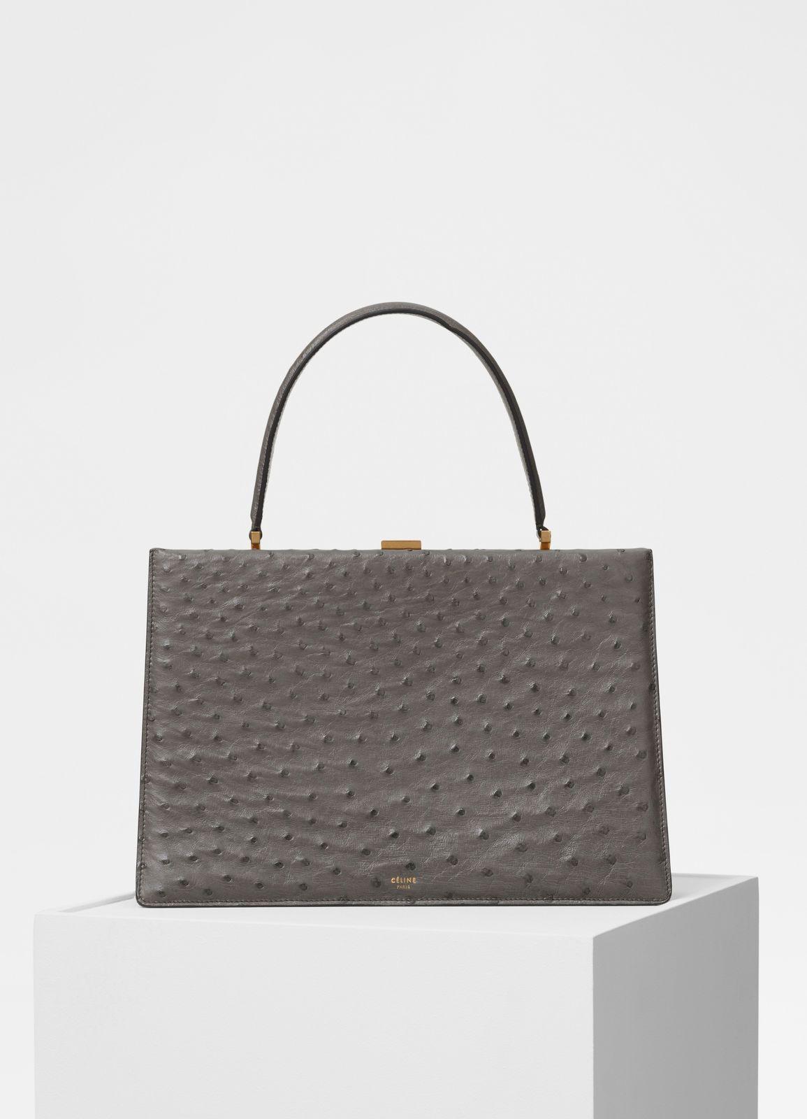 9b4e0e21d Medium Clasp handbag in ostrich   CÉLINE   Bag Purse Sack   Leather ...