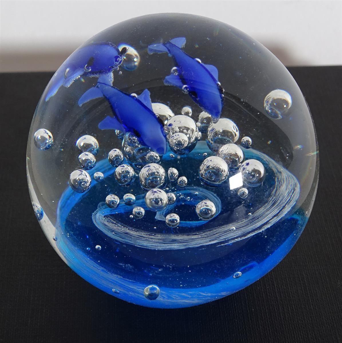 Rariät Kunstglas Paperweight Unterwasserwelt Fische tolle Farben ...