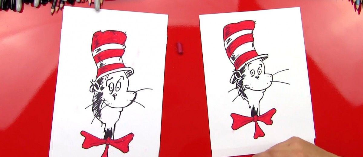 How To Draw The Cat In The Hat Art For Kids Hub Art For Kids Hub Art For Kids Kids Art Projects