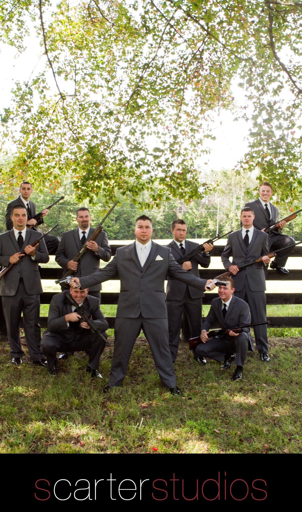 locked and loaded groomsmen with guns / www.scarterstudios.com
