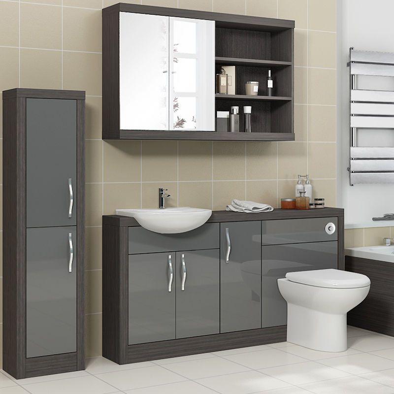 Bathroom Fitted Furniture Walnut Complete Vanity Mirror Cupboard 3pc Unit Suite Ebay Bathroom Furniture Vanity Fitted Bathroom Fitted Bathroom Furniture