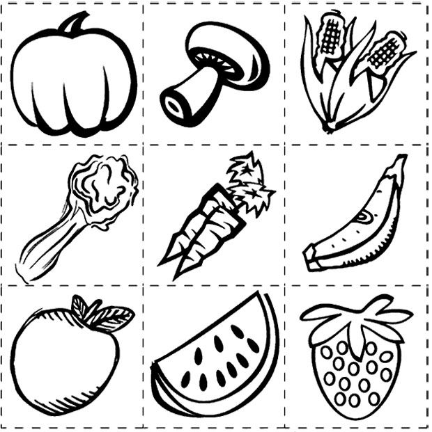 Healthy Vegetables And Fruit Coloring Page Kids Coloring Pages