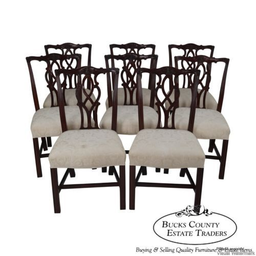 Kindel Solid Mahogany Chippendale Style Set Of 8 Dining Chairs Kent Finish