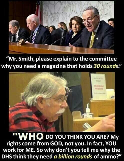 You work for me. Why don't you tell me why the DHS think they need a billion rounds of ammo?