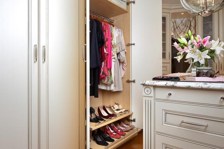 Feminine Walk In Closet Features A Restoration Hardware Victorian Hotel Pendant Illuminating A French White Close Shoe Shelves White Closet Dream Dressing Room