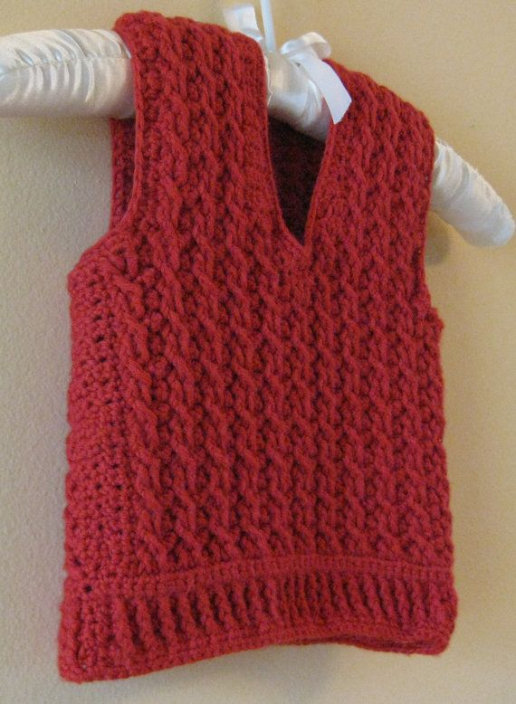 Crocheted Red Cable Boy Vest/ ready to ship